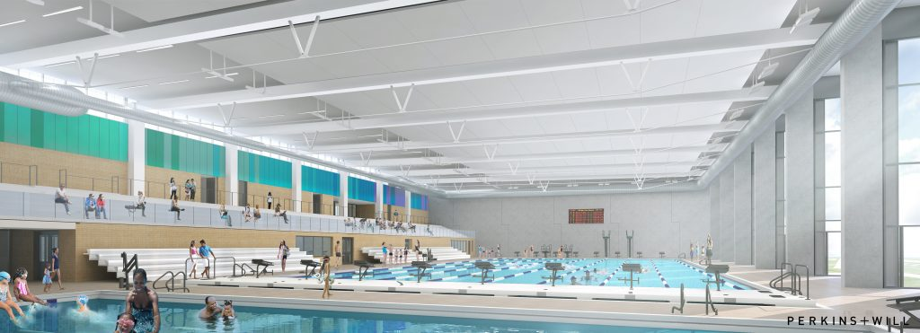 Phase 1's natatorium will house a 50-Meter competition-ready pool with all the required amenities to host regional meets at this facility, including seating for up to 800 spectators.