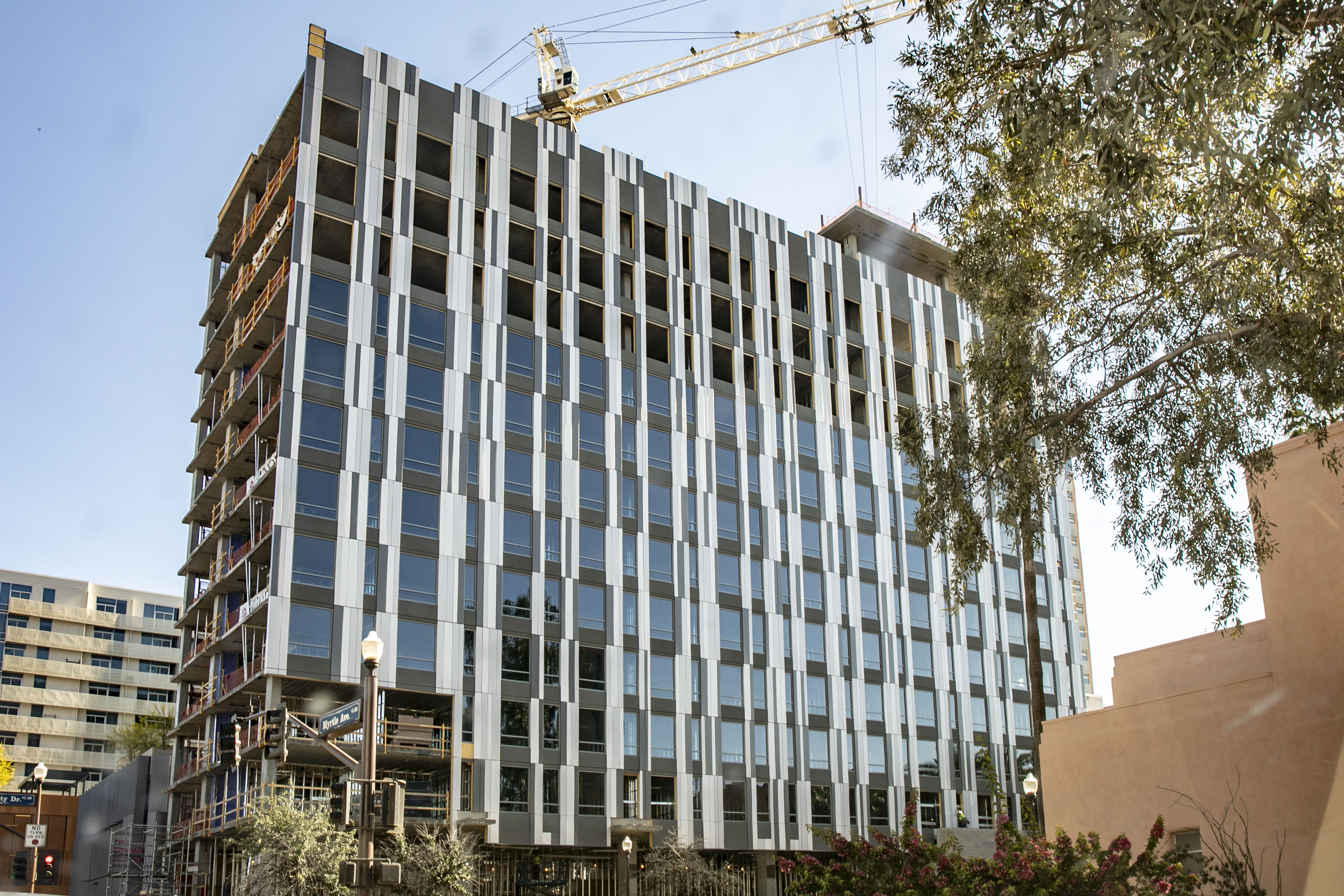 The Canopy by Hilton Tempe's south elevation panel installation is now complete, with windows installed up through level 10 and remaining windows on Levels 11 to 13 scheduled to complete next week.