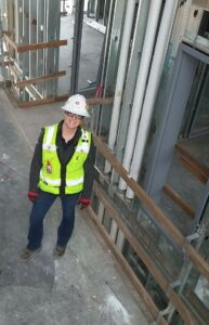 Reese performing an inspection at the Cal Poly Pomona student housing project