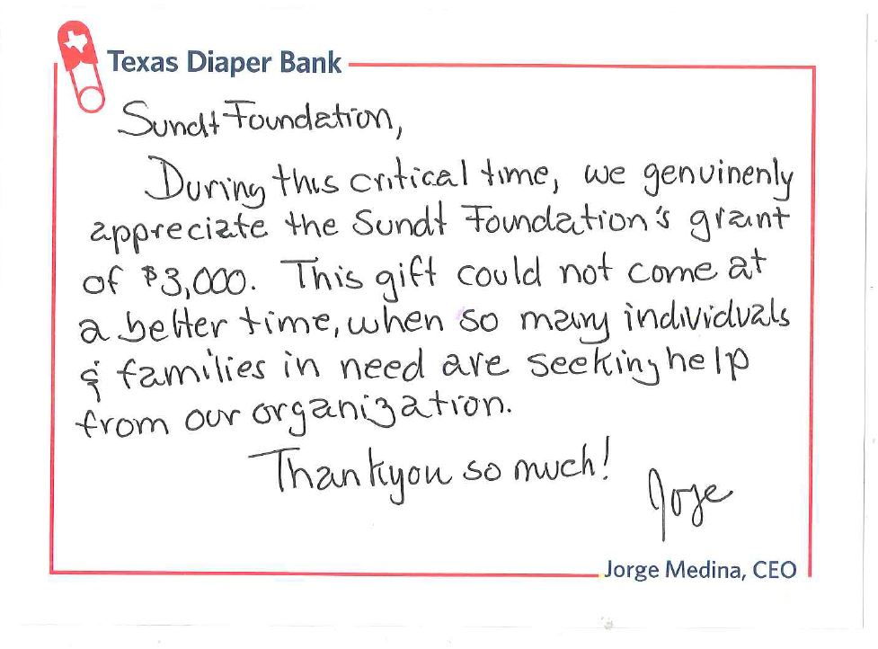 A thank-you note from Jorge Medina, CEO of Texas Diaper Bank thanking Sundt for a $3,000 grant especially during this hard time