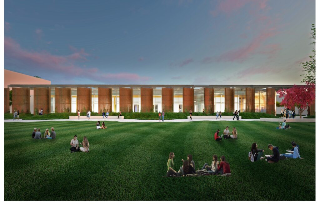 rendering of new net-zero energy Institutional Technology Building project at Southwestern College 1-story building with students sitting on courtyard lawn