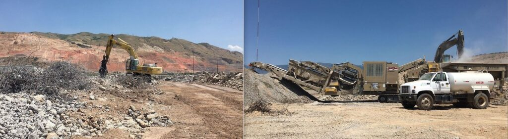 An excavator operator separates demolished concrete from steel rebar, leaving what looks like huge tumbleweeds of metal to be recycled at a salvage yard